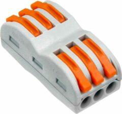 New Energy Move Verbindingsklem duo 3/3 polig Transparant/oranje 0,08 t/m 4mm2 kabel 32A 600V 18,5mmx29mmx12,5mm