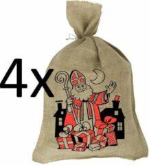 Bruine Sinterklaaszak - Jute zak - Jutezak 80x50 cm - 4 stuks