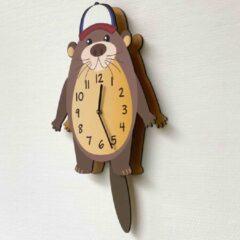 Merkloos / Sans marque BEWEGENDE Kinderklok Otter bruin 3D | STIL UURWERK | bewegende dieren wandklok van hout voor kinderkamer | decoratie accessoires | jongens en meisjes slaapkamer