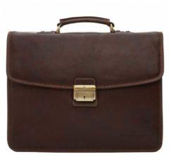 Donkerbruine Castelijn & Beerens Verona businesstas van leer met 13,3 inch laptopvak
