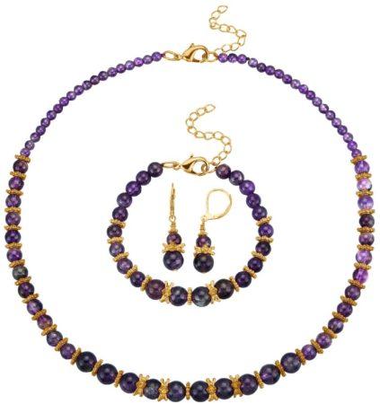 Afbeelding van Paarse Klingel 3-delige sieradenset paars