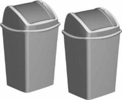 Hega hogar 2x Grijze vuilnisbakken/prullenbakken 15 liter 25 x 29 x 45 cm - Kunststof/plastic vuilnisemmers- Afval scheiden - GFT afvalbakken