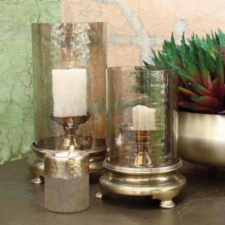 Afbeelding van Bronze PTMD Windlicht Zanto Koper rond glas L 19 X 19 X 31