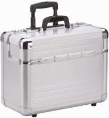 Aluminium Pilotenkoffer Trolley 46,5 cm Laptopfach Dermata silberfarben-matt