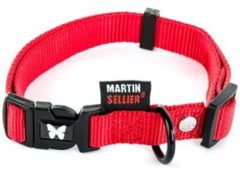 Rode MARTIN SELLIER HALSBAND VOOR HOND NYLON ROOD VERSTELBAAR #95; 40 MMX50-70 CM