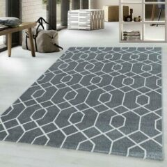 Adana Carpets Retro vloerkleed - Stencil Pattern Grijs Wit 200x290cm