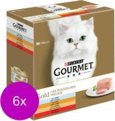 Purina Gourmet Gold 48-Pack Mousese Mixpakket - Tonijn, Lever, Kalkoen,Rund - Kattenvoer - 6 x (8 x 85 gr)