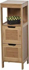 Bruine Gebor Design Bamboe en mdf Onderkast met 2 lades + 1 plank - Mahe - 90x30x30cm - Opbergmeubel - Praktisch - Decoratief - Meubel - Interieur - Bamboe