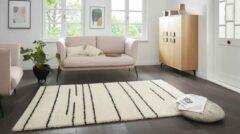 Creme witte Tapeso Hoogpolig vloerkleed strepen Moss - crème 200x290 cm