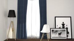 Larson - Luxe geweven blackout gordijn met ringen – donkerblauw 3x2.5m – Verduisterend & kant en klaar – per stuk