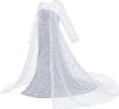 Witte Prinsessenjurk.nl Frozen 2 Elsa pailletten jurk met sleep - 122/128 (130) 7-8 jaar - prinsessenjurk verkleedkleedje