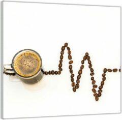Bruine KuijsFotoprint Plexiglas –Koffie met Koffiebonen– 100x100 (Wanddecoratie op Plexiglas)
