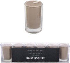 Home Society Votive Mini Candle Taupe set van 6