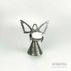 Zilveren Tingieterij 't Oude Ambacht Waxinelicht ''engel'' - Tin - sfeerverlichting - kerstengel - luxe geschenk - Woonaccessoires/woondecoraties