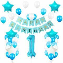 Baloba® Verjaardag versiering 1 jaar - baby 1 jaar - hiep hoera eerste verjaardag feestje - All-in-one Feestpakket - Happy Birthday - Blauw jongen
