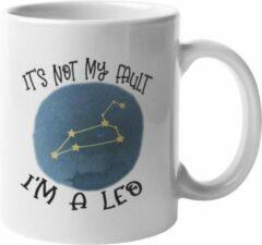 Witte MagicDAT Mok Leo Is niet mijn schuld cadeau voor leeuw, horoscoop, zodiac, sterrenbeeld