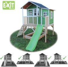 Groene EXIT Loft 550 speelhuisje op poten met glijbaan - groen