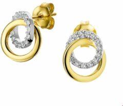 Zilveren The Jewelry Collection Oorknoppen Zirkonia - Bicolor Goud