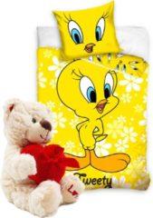 Gele Looney Tunes-Dekbedovertrek Tweety Ledikant 100x135 - katoen , incl. pluche Love Beertje 20cm