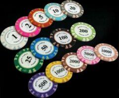 KortingCamera.NL 5 stuk Professionele Upscale Klei Casino Texas Poker Chips 14G waarde 50 100 200 500 1000