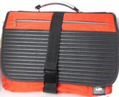 PE Florence laptoptas van rood canvas met zwart, maat 14 inch