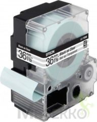 Epson transparante tape breedte 36 mm, zwart/transparant