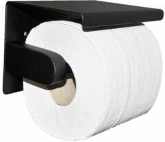 Mueller toiletrolhouder met planchet 304-RVS mat zwart