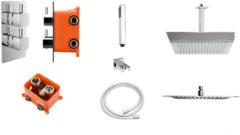 Best Design One pack inbouw regendoucheset & Inb.box Piazza vierkant P 300x300 4006850