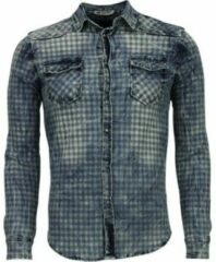 Enos Denim Overhemd - Slim Fit Lange Mouwen Heren - Ruiten Motief - Blauw Casual overhemden heren Heren Overhemd Maat XS