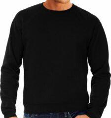 Fruit of the Loom Zwarte sweater / sweatshirt trui met raglan mouwen en ronde hals voor heren - zwart - basic sweaters L (EU 52)
