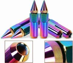 Claty Wielmoeren Spikes 90mm – M12x1.5 – 2 delige moeren - Titanium/Neon