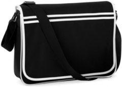 Retro schoudertas/aktetas zwart/wit 40 cm voor dames/heren - Schooltassen/laptop tassen met schouderband