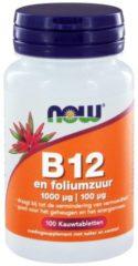 Now Foods NOW Vitamine B12 1000 mcg en Foliumzuur 100 mcg 100 Kauwtabletten