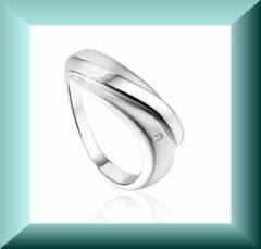 Hetty'S Zilveren Ring met Diamantje/ Mat/Poli Rhodium/ maat 16