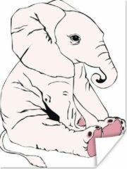 PosterMonkey Een illustratie van een roze babyolifant poster 60x80 cm - Foto print op Poster (wanddecoratie woonkamer / slaapkamer) / Wilde dieren Poster