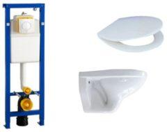 Witte Adema Classic inbouwreservoir compleet metinbouwreservoir, met zitting en bedieningsplaat chroom