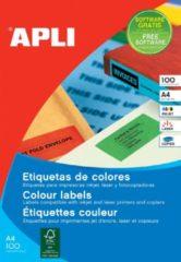 Apli Gekleurde etiketten formaat 105 x 37 mm (b x h) blauw 1.600 stuks 16 per blad doos van 100 blad