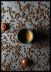 Grijze Wallll Poster Koffiecups - 30x40cm - Poster Koffie en Keuken