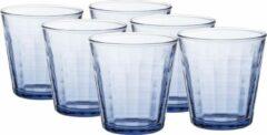 Duralex 12x koffie/espresso glazen Prisme blauw 170 ml - Espresso glazen van glas 170 ml