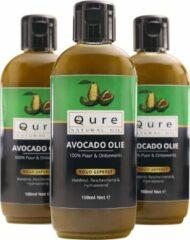 Qure Natural Oil Avocado Olie 100ml | 100% Puur & Onbewerkt | Koudgeperst en niet geraffineerde Avocado Olie voor Haar, Gezicht en Lichaam