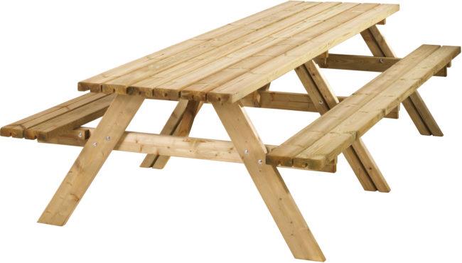 Afbeelding van Bruine Woodvision - Picknicktafel - 12-14 personen - Vurenhout