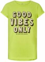 Retour Denim T-shirt Maribelle met tekst neon geel/zwart