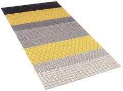 Beliani Vloerkleed grijs/geel 80 x 150 cm laagpolig AKKAYA