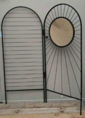 Mica Decorations Kamerscherm zwart metaal met spiegel H180 L150cm