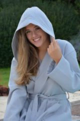 Licht-grijze ARTG Robezz® Wafelbadjas met Capuchon – Light Grey – Maat X-Small