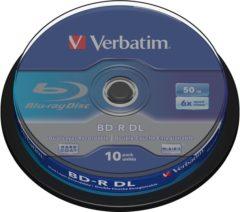 Blauwe Verbatim BD-R DL 50GB 6x speed, 10 Pack Spindle BD-R 50GB 10stuk(s)