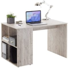 Zandkleurige FD Furniture Bureau Gent 117 cm breed in zand eiken