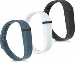 Antraciet-grijze Kwmobile horlogeband voor Fitbit Flex - 3x siliconen bandje in wit / zwart / antraciet - Voor fitnesstracker