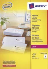 Avery witte laseretiketten QuickPeel doos van 250 blad ft 99,1 x 33,9 mm (b x h), 4000 stuks, 16 per blad