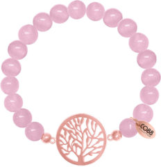 CO88 Collection Beloved 8CB 80013 Rekarmband met Stalen Elementen - Levensboom - Jade Natuursteen 8 mm - One-size - Roze